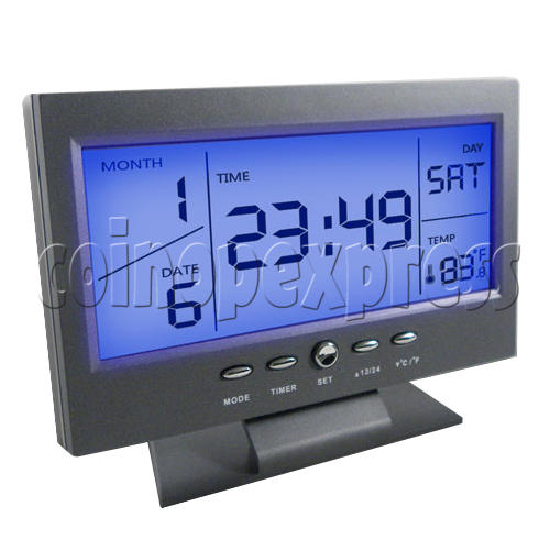 LCD Calendar Clock With Sound Activated Backlight Projection 23930
