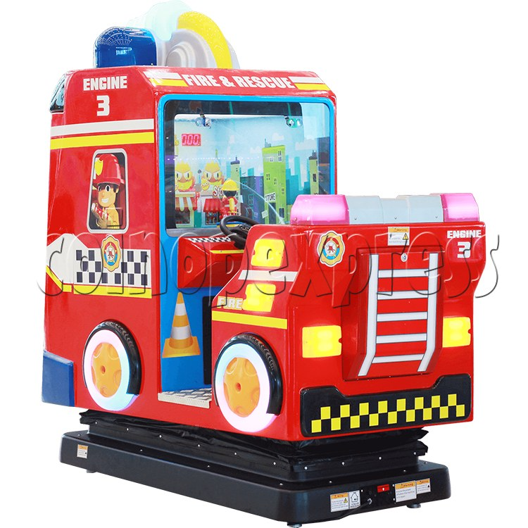 Fire Rescue Car Kiddie Rides Video Game Machine - back view