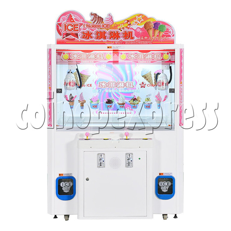 Ice Cream Claw Vedning Machine - 2 Players white color