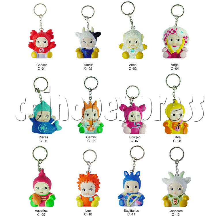 Twelve Horoscope Star Key Ring 8038