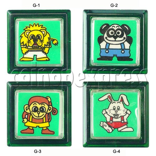 33mm Square Push Button with Cartoon 13109