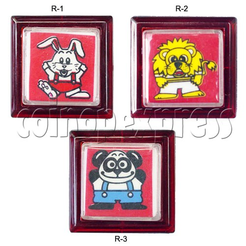 33mm Square Push Button with Cartoon 13110