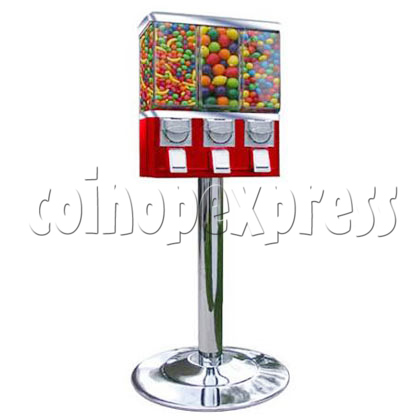 Metal Triple Head Candy Vending Machine With Steel Stand 18783
