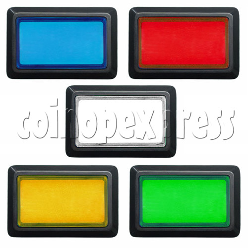 Rectangular Illuminated Push Button With LED Light - Square Edge 17583