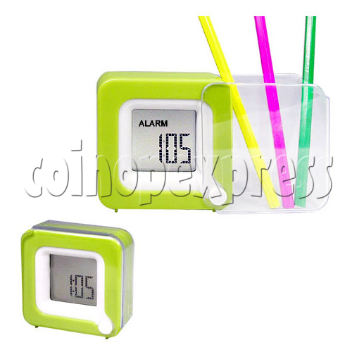 Mini LCD Digital Alarm Clock with Folding Penholder 19486