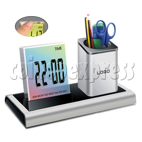 7 colors changing LED digital alarm clock with penholder 19493