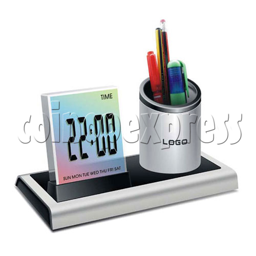 7 colors changing LED digital alarm clock with penholder 19494