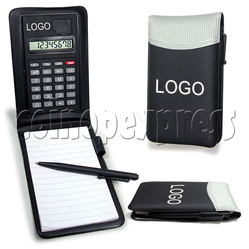 8 Digital Calculator with Leather Notebook and Pen 19621