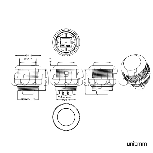 35mm Round Push Button with Momentary Contact Switch - diagram