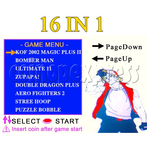 16 in 1 Arcade game cartridge  MVS 8 - Game Menu - 2