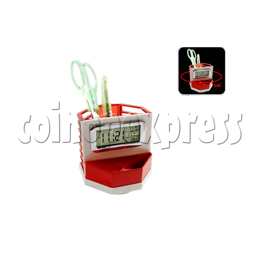 LCD Digital Alarm Clock with Rotated Pen Holder 26943